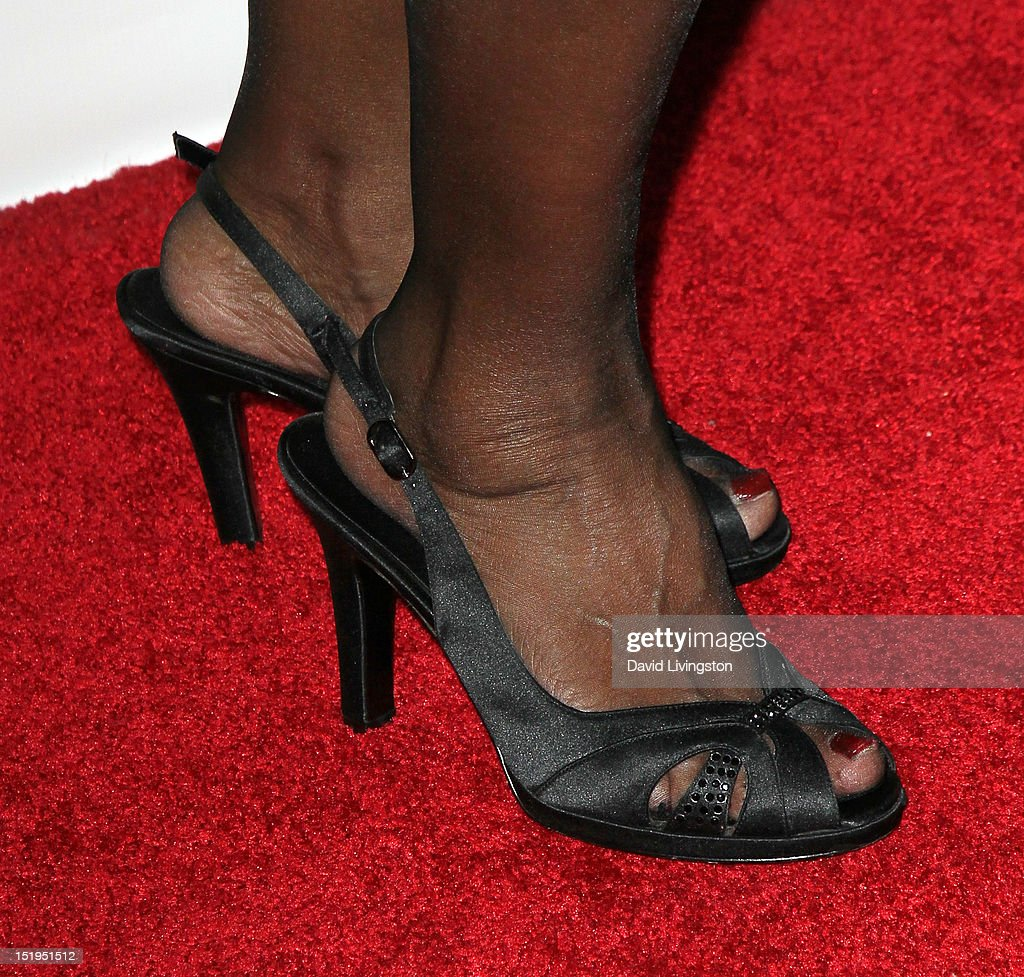 Singer <a gi-track='captionPersonalityLinkClicked' href=/galleries/search?phrase=Florence+LaRue&family=editorial&specificpeople=678302 ng-click='$event.stopPropagation()'>Florence LaRue</a> (shoe detail) attends the Los Angeles Mission's 20th Anniversary Gala for the Anne Douglas Center for Women at the Four Seasons Hotel Los Angeles at Beverly Hills on September 12, 2012 in Beverly Hills, California.