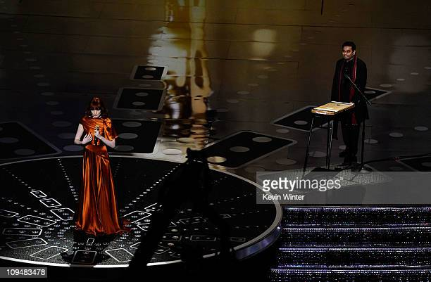 Singer Florence Welch and composer AR Rahman perform 'If I Rise' from the motion picture '127 Hours' a nominee for Best Achievement in Music Written...