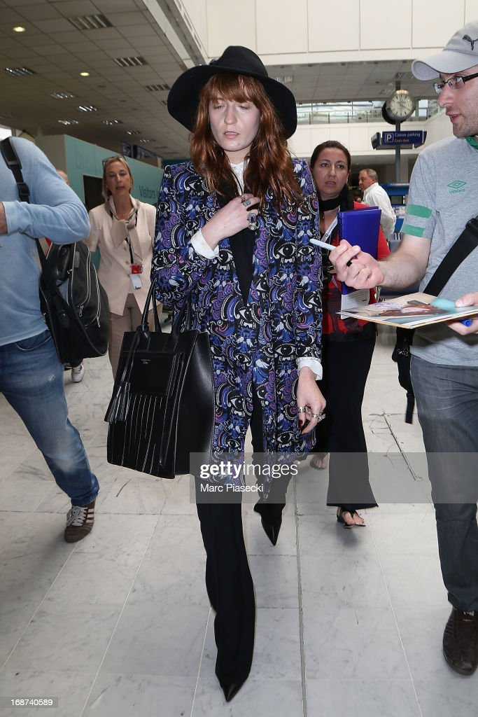 Singer Florence Welch arrives at Nice airport on May 14, 2013 in Nice, France.