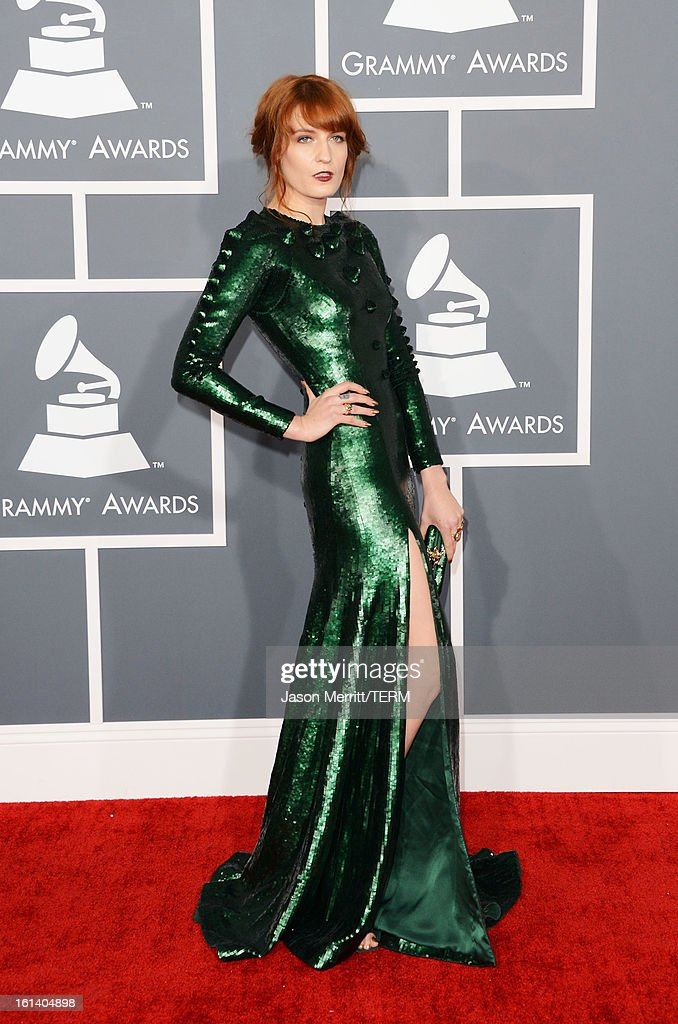 Singer Florence Welch arrives at the 55th Annual GRAMMY Awards at Staples Center on February 10, 2013 in Los Angeles, California.