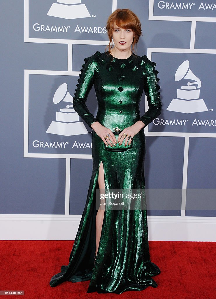 Singer <a gi-track='captionPersonalityLinkClicked' href=/galleries/search?phrase=Florence+Welch&family=editorial&specificpeople=5431574 ng-click='$event.stopPropagation()'>Florence Welch</a> arrives at The 55th Annual GRAMMY Awards at Staples Center on February 10, 2013 in Los Angeles, California.