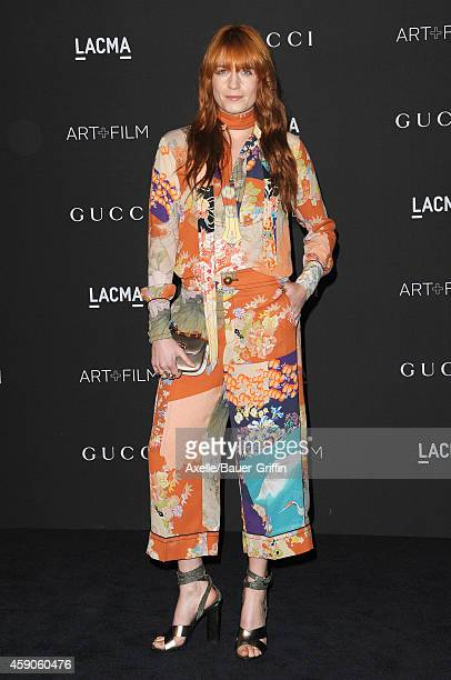 Singer Florence Welch attends the 2014 LACMA Art Film Gala Honoring Barbara Kruger And Quentin Tarantino Presented By Gucci at LACMA on November 1...