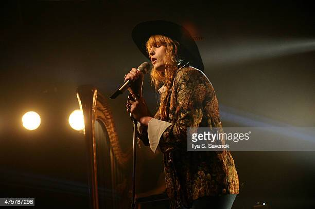 Singer Florence Welch of Florence And The Machine perfoms onstage during the iHeartRadio LIVE performance and QA with Florence And The Machine on...
