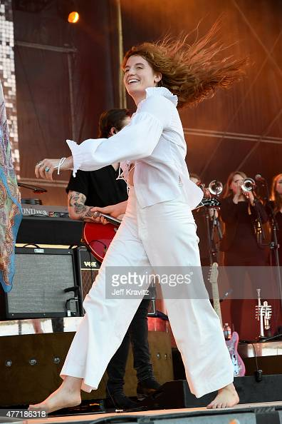 Singer Florence Welch of Florence and the Machine performs onstage at What Stage during Day 4 of the 2015 Bonnaroo Music And Arts Festival on June 14...