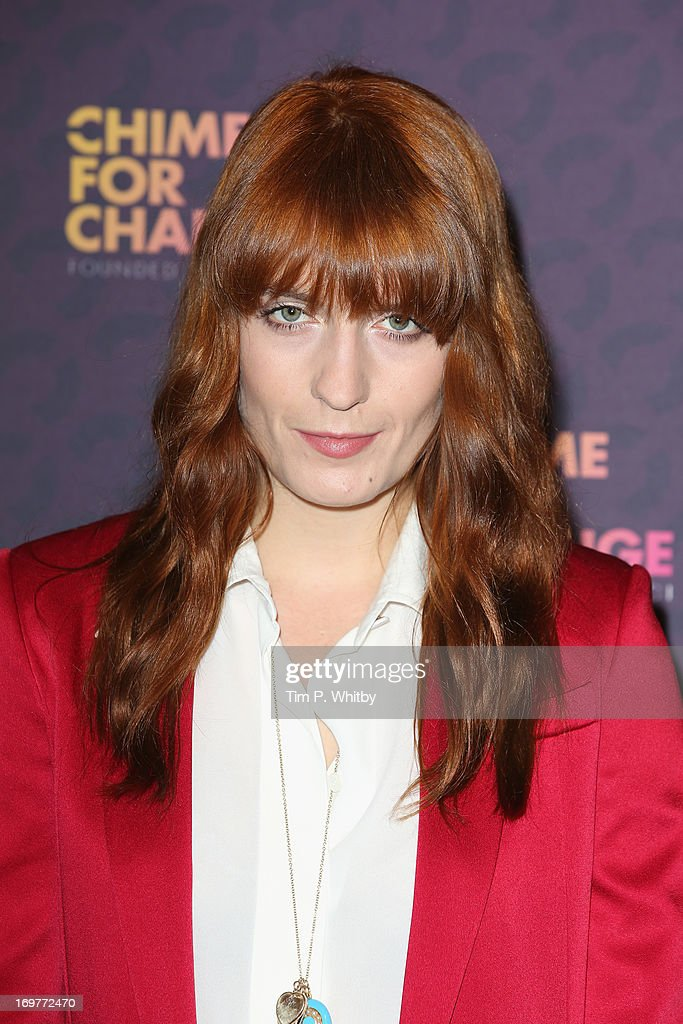 Singer <a gi-track='captionPersonalityLinkClicked' href=/galleries/search?phrase=Florence+Welch&family=editorial&specificpeople=5431574 ng-click='$event.stopPropagation()'>Florence Welch</a> of Florence and the Machine poses backstage in the media room at the 'Chime For Change: The Sound Of Change Live' Concert at Twickenham Stadium on June 1, 2013 in London, England. Chime For Change is a global campaign for girls' and women's empowerment founded by Gucci with a founding committee comprised of Gucci Creative Director Frida Giannini, Salma Hayek Pinault and Beyonce Knowles-Carter.