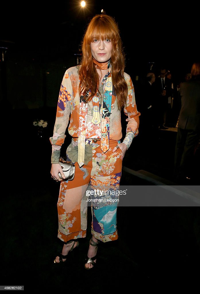 Singer Florence Welch wearing Gucci of Florence and the Machine attends the 2014 LACMA Art Film Gala honoring Barbara Kruger and Quentin Tarantino...