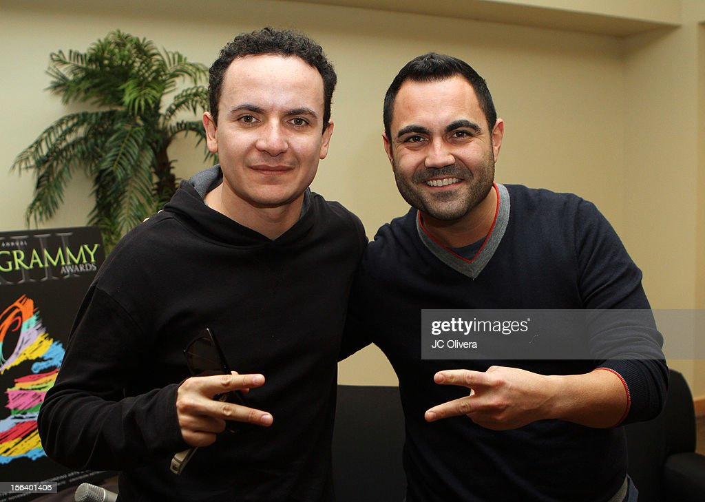 Singer Fonseca (L) and radio personality <a gi-track='captionPersonalityLinkClicked' href=/galleries/search?phrase=Enrique+Santos+-+Personalit%C3%A0+televisiva&family=editorial&specificpeople=15214264 ng-click='$event.stopPropagation()'>Enrique Santos</a> attend the 13th annual Latin GRAMMY Awards Univision Radio Remotes held at the Mandalay Bay Events Center on November 14, 2012 in Las Vegas, Nevada.