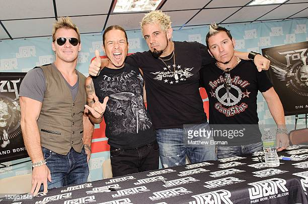 Singer/ former pro wrestler Chris Jericho guitarist Rich Ward drummer Frank Fontsere and guitarist Billy Grey of the band Fozzy visit JR Music World...