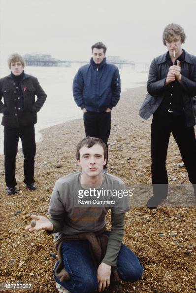 Singer Fran Healy with the other members of British rock group Travis guitarist Andy Dunlop drummer Neil Primrose and bassist Dougie Payne Brighton...
