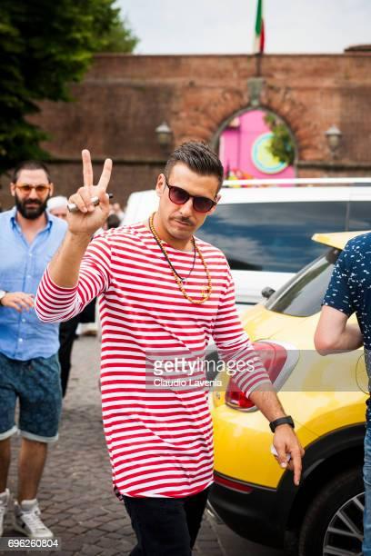 Singer Francesco Gabbani wears Sting sunglasses during Pitti Immagine Uomo 92 at Fortezza Da Basso on June 15 2017 in Florence Italy