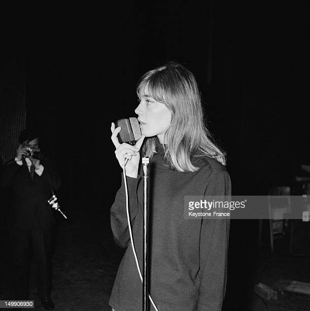Singer Francoise Hardy rehearsing before performing at the Olympia music hall in a few days on November 5 1963 in Paris France
