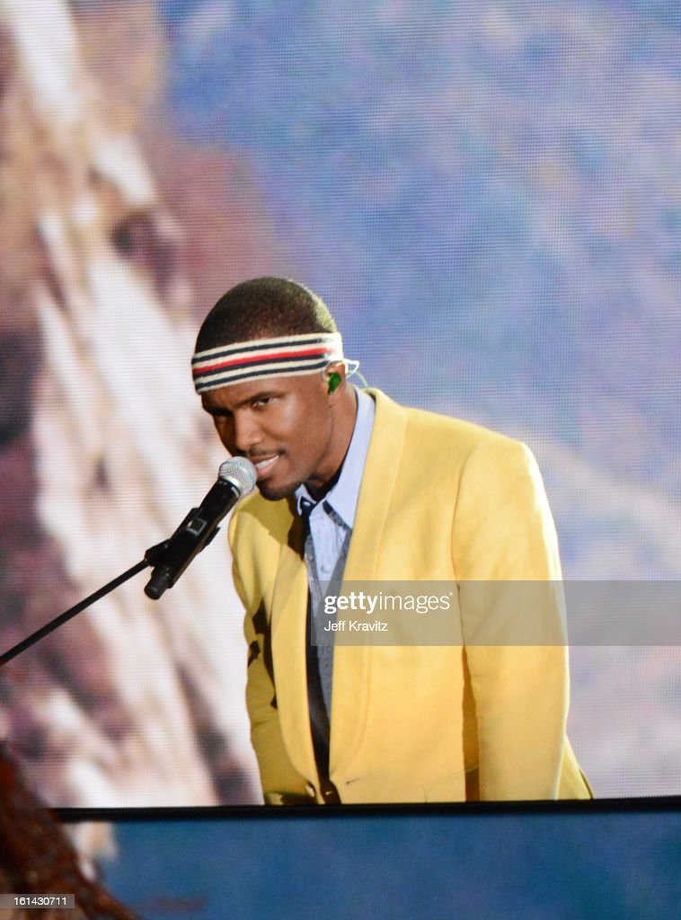 Singer <a gi-track='captionPersonalityLinkClicked' href=/galleries/search?phrase=Frank+Ocean&family=editorial&specificpeople=7657747 ng-click='$event.stopPropagation()'>Frank Ocean</a> performs onstage at the 55th Annual GRAMMY Awards at Staples Center on February 10, 2013 in Los Angeles, California.