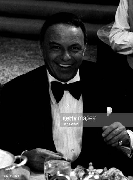 Singer Frank Sinatra attends Third Annual American Film Institute Achievement Awards Honoring Orson Welles on February 9 1975 at the Century Plaza...