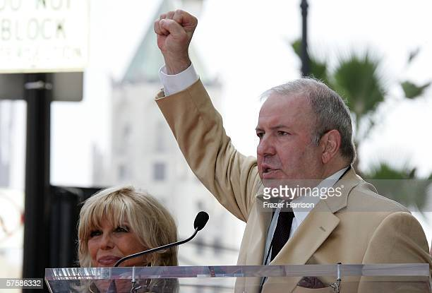 Singer Frank Sinatra Jr speaks as Nancy Sinatra receives her star on The Hollywood Walk of Fame on May 11 2006 in Hollywood California