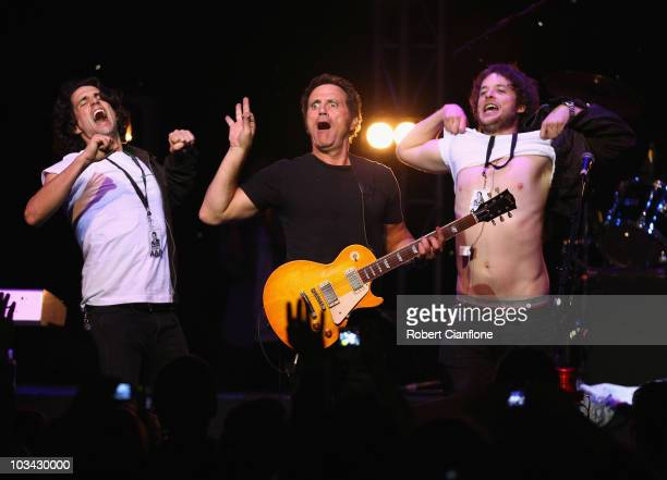Singer Frank Stallone brother of Sylvester performs on stage with with radio personalities Andy Lee and Hamish Blake at The Forum Theatre on August...