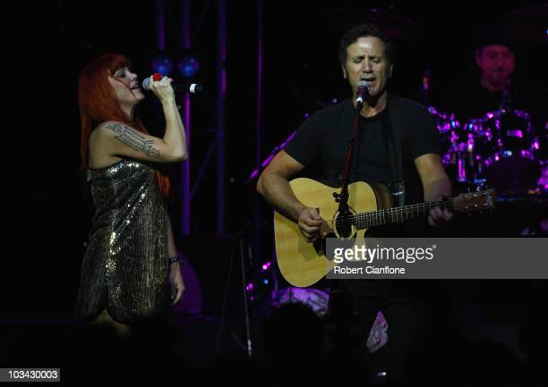 Singer Frank Stallone brother of Sylvester performs on stage with Australian singer Vanessa Amorosi at The Forum Theatre on August 18 2010 in...