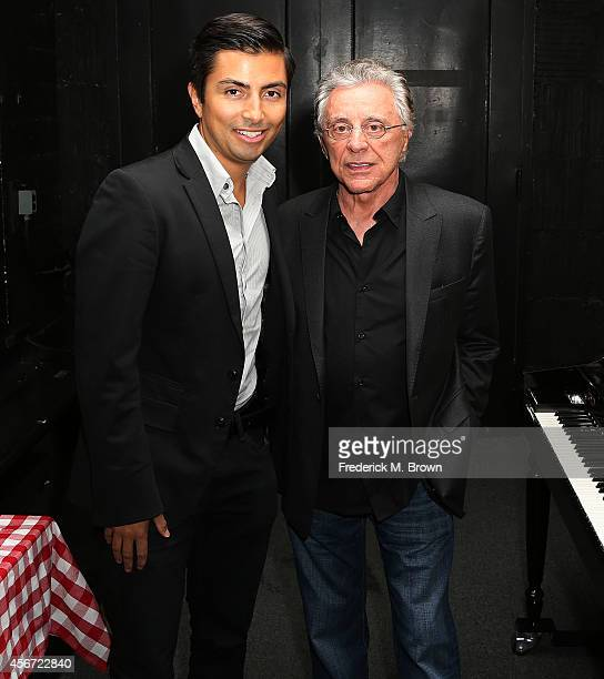 Singer Frankie Vali and a guest attend the Opening Night of 'Jersey Boys' at the Hollywood Pantages Theatre on October 5 2014 in Hollywood California