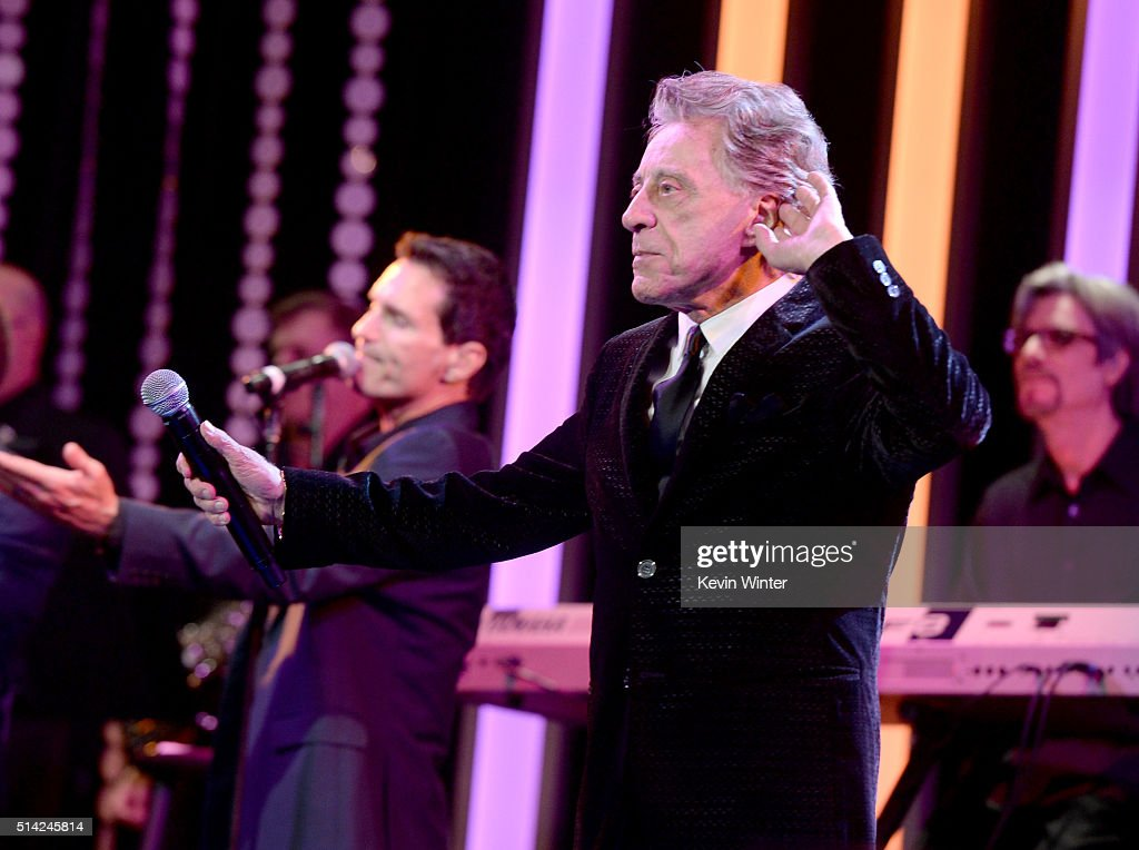 Singer Frankie Valli performs onstage during the Venice Family Clinic Silver Circle Gala 2016 honoring Brett Ratner and Bill Flumenbaum at The Beverly Hilton Hotel on March 7, 2016 in Beverly Hills, California.
