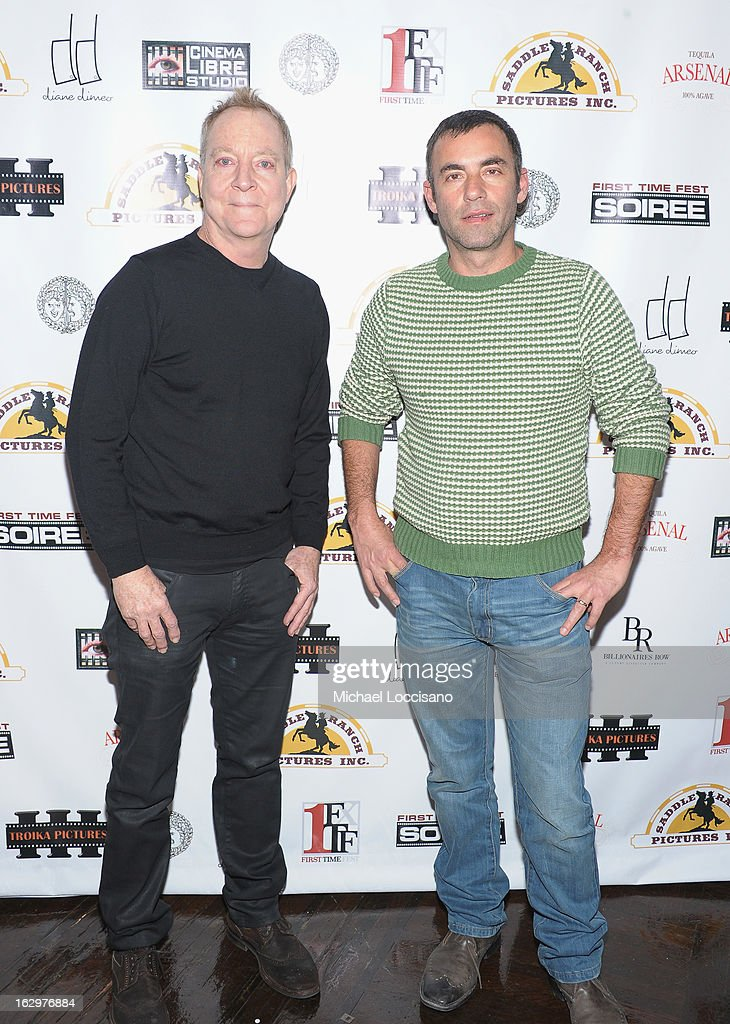 Singer <a gi-track='captionPersonalityLinkClicked' href=/galleries/search?phrase=Fred+Schneider&family=editorial&specificpeople=209116 ng-click='$event.stopPropagation()'>Fred Schneider</a> and filmmaker Eliav Lilti attend the opening night party for the 2013 First Time Fest at The Players Club on March 1, 2013 in New York City.