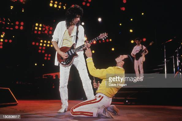 Singer Freddie Mercury and guitarist Brian May of British rock band Queen in concert at Wembley Stadium July 1986