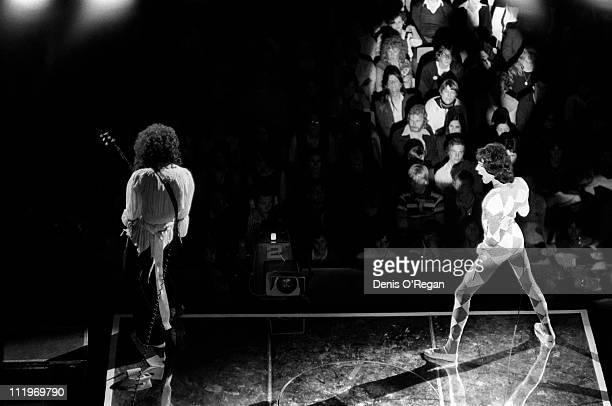 Singer Freddie Mercury and guitarist Brian May performing with British rock group Queen at the Lyceum Ballroom London 1979