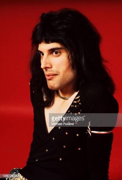 Singer Freddie Mercury of British rock band Queen poses in London England in 1973