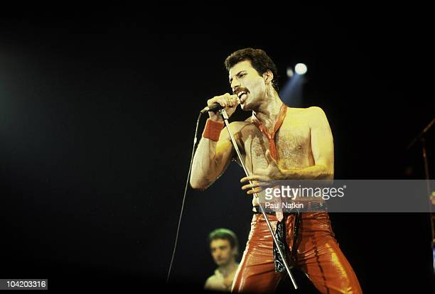 Singer Freddie Mercury of Queen at the Rosemont Horizon on September 19 1980 in Rosemont Illinois