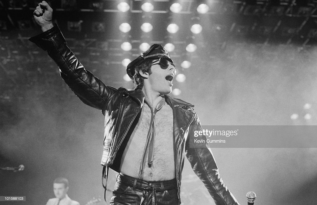 Singer Freddie Mercury of rock band Queen performs on stage at the Apollo in Manchester, England on November 27, 1979.