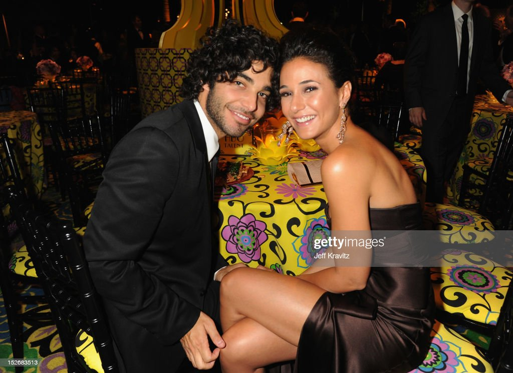 Singer Freddy Wexler and actress Emmanuelle Chriqui attend HBO's Official Emmy After Party at The Plaza at the Pacific Design Center on September 23, 2012 in Los Angeles, California.