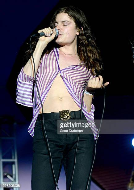 Singer Garrett Borns of the band BORNS performs onstage at the annual Twilight Series at the Santa Monica Pier on July 14 2016 in Santa Monica...