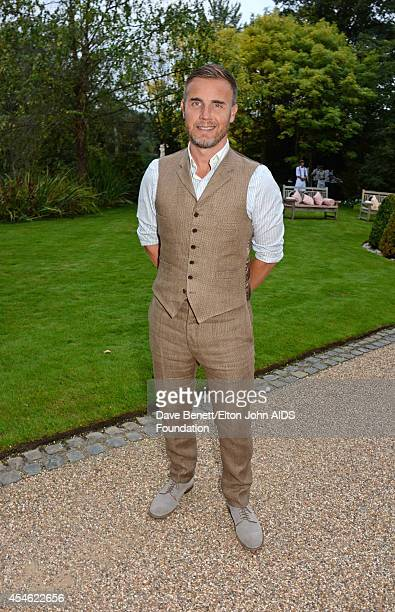 APPLIES Singer Gary Barlow attends the Woodside End of Summer party to benefit the Elton John AIDS Foundation sponsored by Chopard and Grey Goose at...