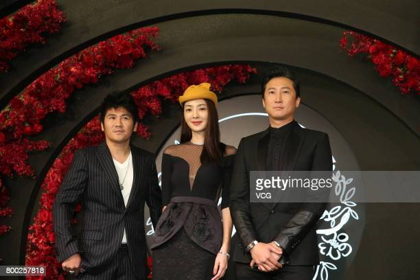 Singer Gary Chaw and wife Wu Suling arrive at the red carpet of the banquet held by Macau businessman Levo Chan and actress Ady An on June 23 2017 in...