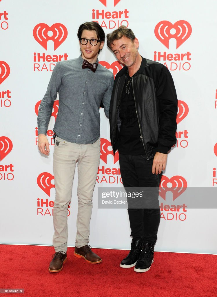 Singer Gary Go (L) and DJ Benny Benassi attend the iHeartRadio Music Festival at the MGM Grand Garden Arena on September 20, 2013 in Las Vegas, Nevada.