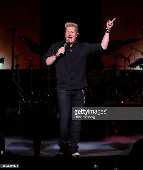 Singer Gary LeVox of the band Rascal Flatts performs during the first night of the band's residency 'Rascal Flatts Vegas Riot' at The Joint inside...