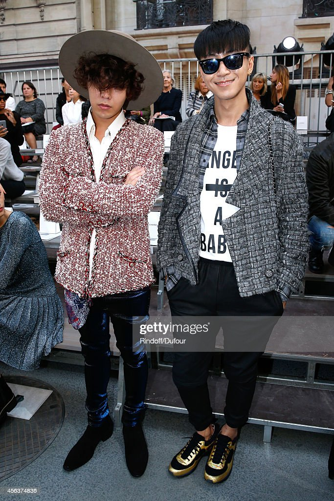 Singer GDragon and blogger Han Huo Huo attend the Chanel show as part of the Paris Fashion Week Womenswear Spring/Summer 2015 on September 30 2014 in...