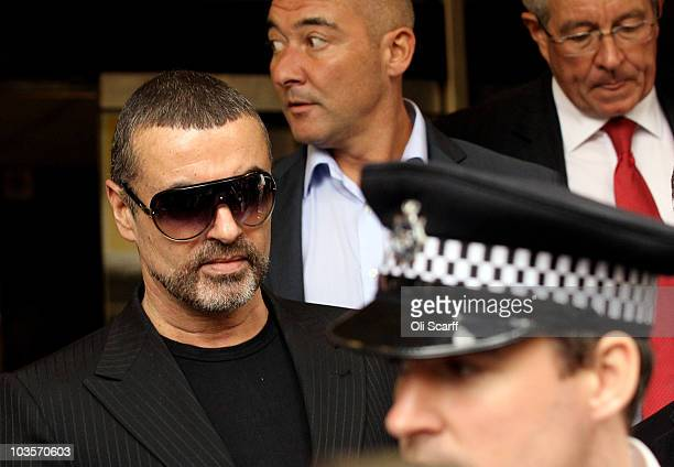 Singer George Michael leaves Highbury Corner Magistrates Court on August 24 2010 in London England Mr Michael pleaded guilty to driving under the...