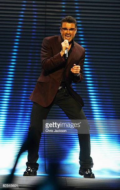 Singer George Michael performs on stage during his concert at Earls Court on August 25 2008 in London