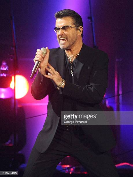 Singer George Michael performs onstage during the 2008 '25 Live' tour held at the Air Canada Centre on July 17 2008 in Toronto Canada