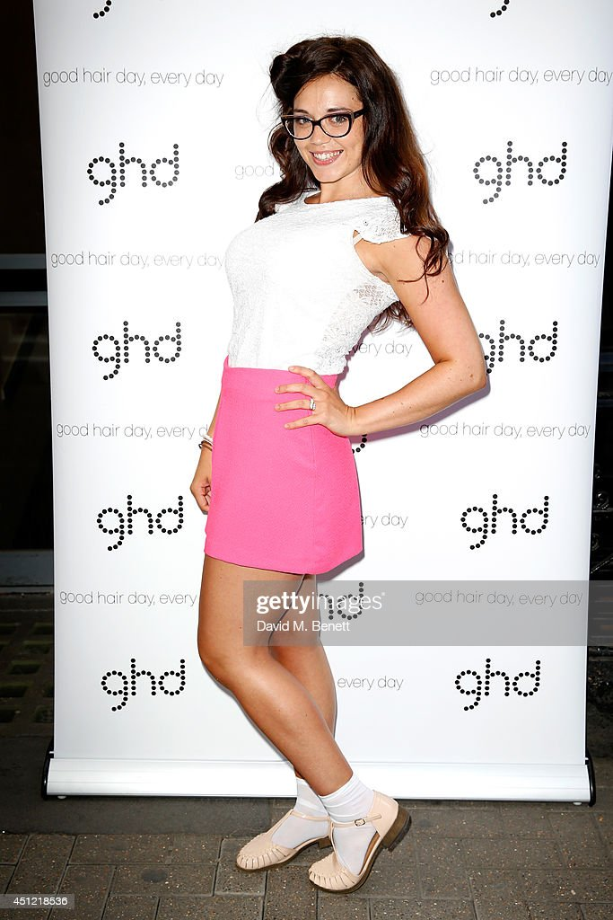 Singer Georgia Harrup attends ghd's exhibition of iconic beauty must-haves to celebrate the launch of ghd aura, a ground-breaking drying and styling tool on June 25, 2014 in London, England.