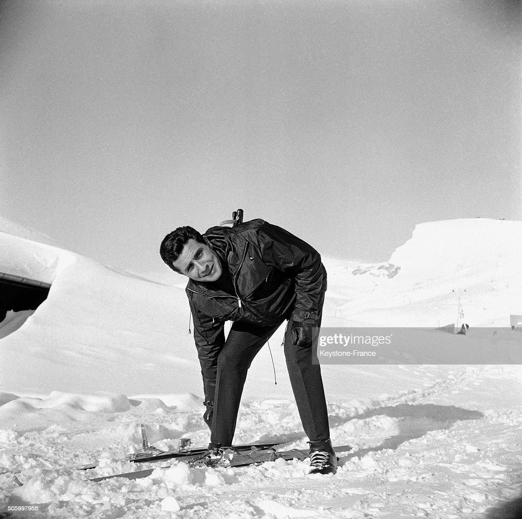 Singer Gilbert Bécaud Skiing In CransSurSierre Switzerland on January 15 1963