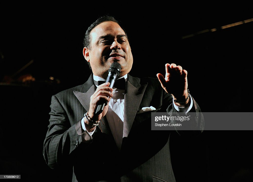 Singer Gilberto Santa Rosa performs at the 'Forever Tango' Press Preview at Walter Kerr Theatre on July 11 2013 in New York City