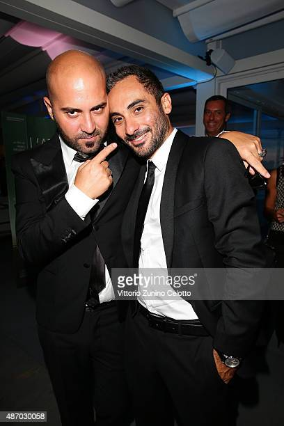 Singer Giuliano Sangiorgi and director Piero Messina attend a cocktail reception for 'The Wait' hosted by Tiffany Co during the 72nd Venice Film...
