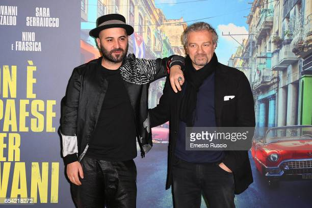 Singer Giuliano Sangiorgi and Giovanni Veronesi walk the red carpet for 'Non e' Un Paese Per Giovani' at La Casa Del Cinema on March 16 2017 in Rome...