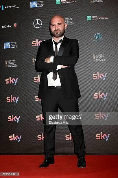 Singer Giuliano Sangiorgi arrives at the 60 David di Donatello ceremony on April 18 2016 in Rome Italy
