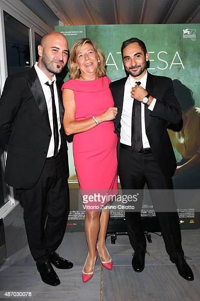 Singer Giuliano Sangiorgi Managing Director of Tiffany Co Italy Raffaella Banchero and director Piero Messina attend a cocktail reception for 'The...