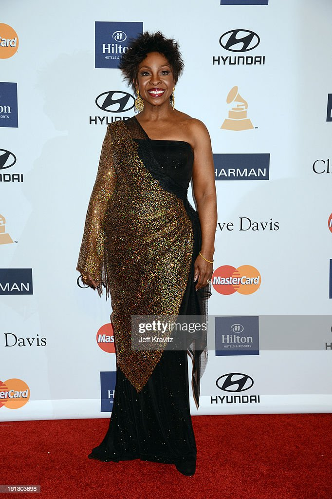 Singer <a gi-track='captionPersonalityLinkClicked' href=/galleries/search?phrase=Gladys+Knight&family=editorial&specificpeople=169894 ng-click='$event.stopPropagation()'>Gladys Knight</a> arrives at Clive Davis and The Recording Academy's 2013 GRAMMY Salute to Industry Icons Gala held at The Beverly Hilton Hotel on February 9, 2013 in Beverly Hills, California.