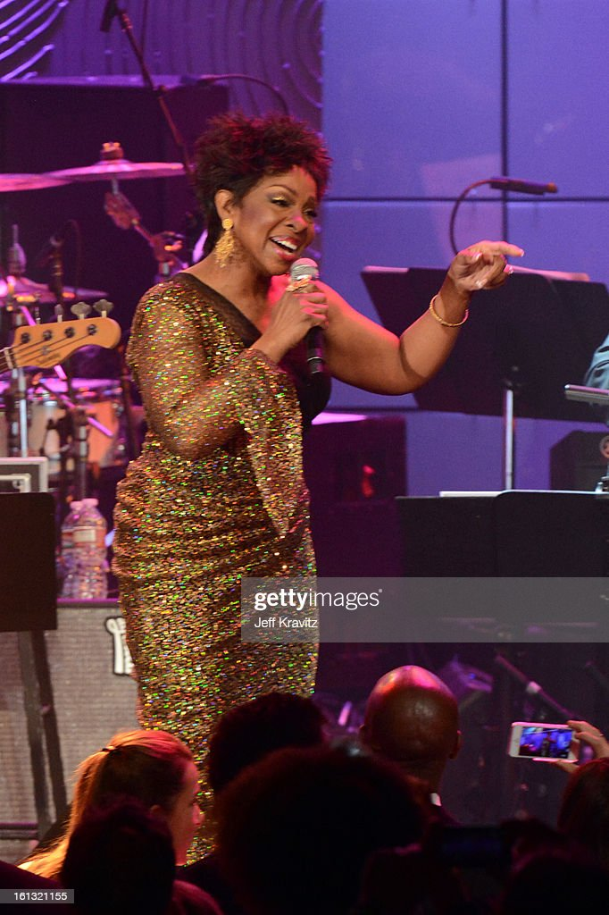 Singer <a gi-track='captionPersonalityLinkClicked' href=/galleries/search?phrase=Gladys+Knight&family=editorial&specificpeople=169894 ng-click='$event.stopPropagation()'>Gladys Knight</a> performs onstage at Clive Davis and The Recording Academy's 2013 GRAMMY Salute to Industry Icons Gala held at The Beverly Hilton Hotel on February 9, 2013 in Beverly Hills, California.