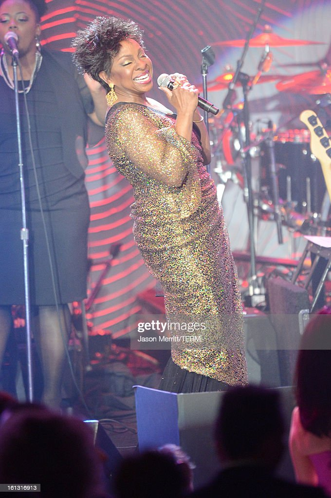 Singer <a gi-track='captionPersonalityLinkClicked' href=/galleries/search?phrase=Gladys+Knight&family=editorial&specificpeople=169894 ng-click='$event.stopPropagation()'>Gladys Knight</a> performs onstage at the 55th Annual GRAMMY Awards Pre-GRAMMY Gala and Salute to Industry Icons honoring L.A. Reid held at The Beverly Hilton on February 9, 2013 in Los Angeles, California.