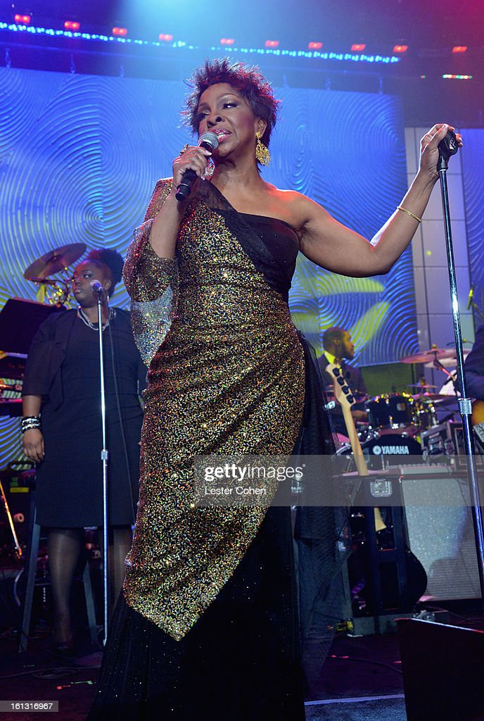 Singer Gladys Knight performs onstage at the 55th Annual GRAMMY Awards Pre-GRAMMY Gala and Salute to Industry Icons honoring L.A. Reid held at The Beverly Hilton on February 9, 2013 in Los Angeles, California.