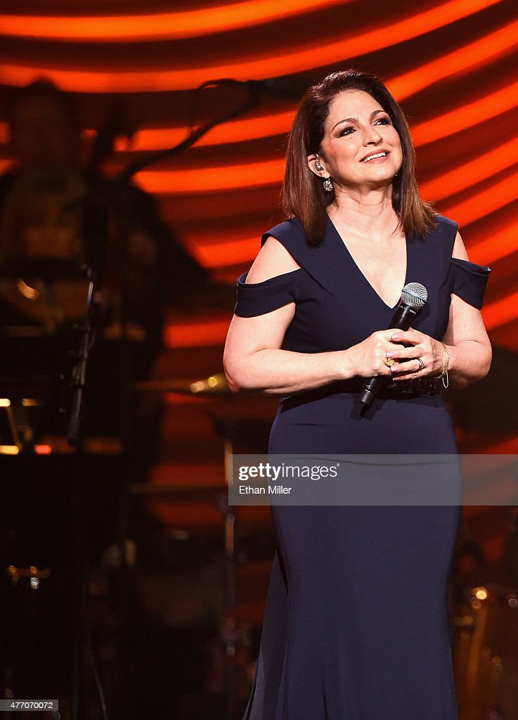 Singer <a gi-track='captionPersonalityLinkClicked' href=/galleries/search?phrase=Gloria+Estefan&family=editorial&specificpeople=201703 ng-click='$event.stopPropagation()'>Gloria Estefan</a> performs during the 19th annual Keep Memory Alive 'Power of Love Gala' benefit for the Cleveland Clinic Lou Ruvo Center for Brain Health honoring Andrea Bocelli and Veronica Bocelli at MGM Grand Garden Arena on June 13, 2015 in Las Vegas, Nevada.